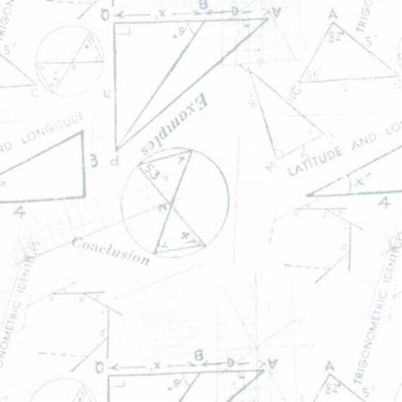 Modern BG Paper Metrics Silver White - 1/2yd