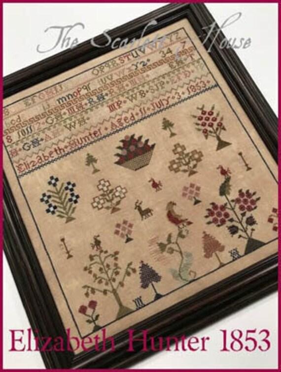 Elizabeth Hunter 1853 - Scarlett House - Cross Stitch Chart
