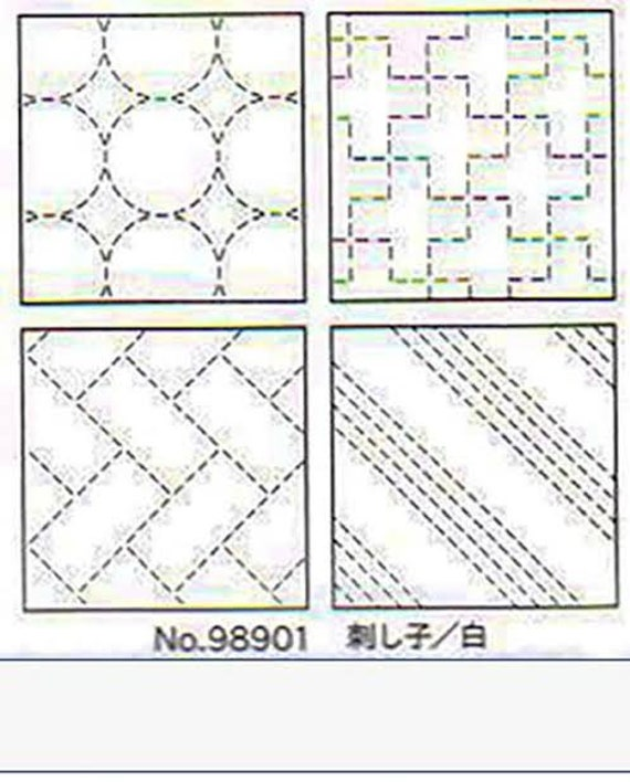 Set of 4 pre-Printed Sashiko Coasters - Pearl White 98901