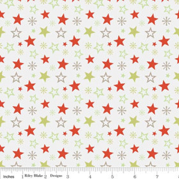 A Very Merry Christmas - Christmas Stars Soft Taupe - 1/2  yard