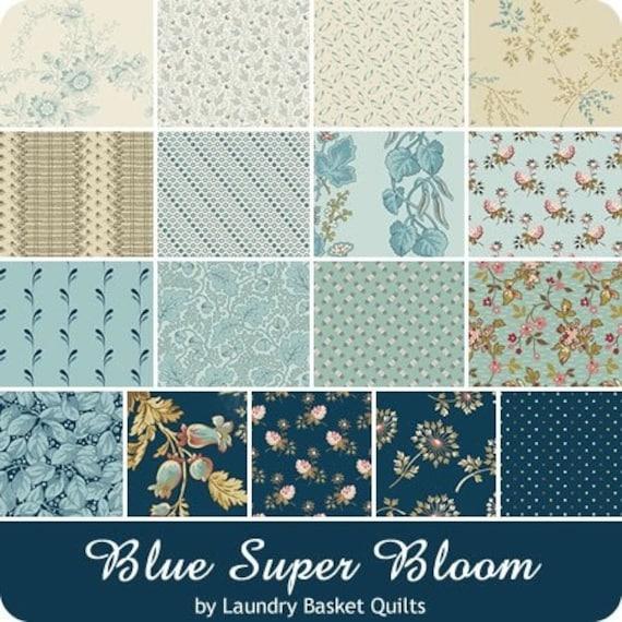 Blue Super Bloom by Laundry Basket Quilts - 18 FQ Bundle