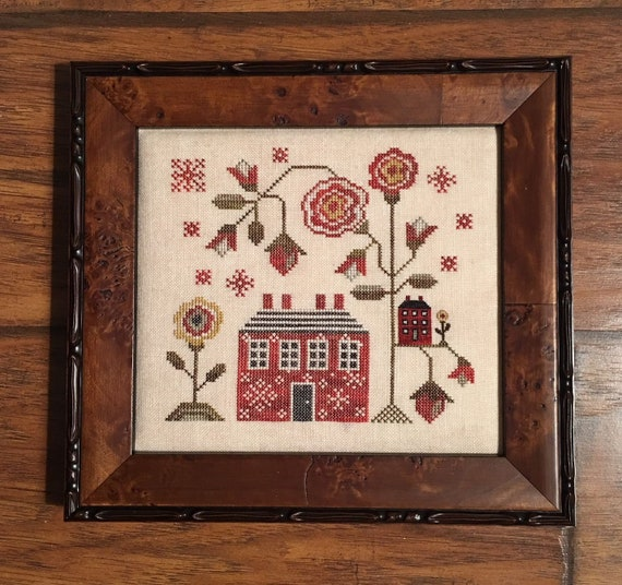 A Red Cottage - Plum Street Samplers - Cross Stitch Chart