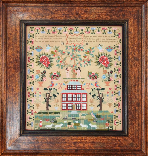 Elizabeth Furniss 1836 - Hands Across the Sea Samplers - Cross Stitch Chart