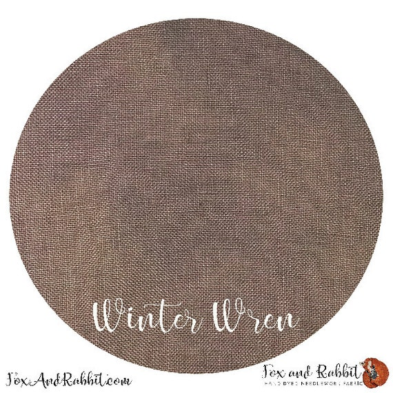 Winter Wren - Fox and Rabbit Designs - Hand-Dyed linen - 40 count