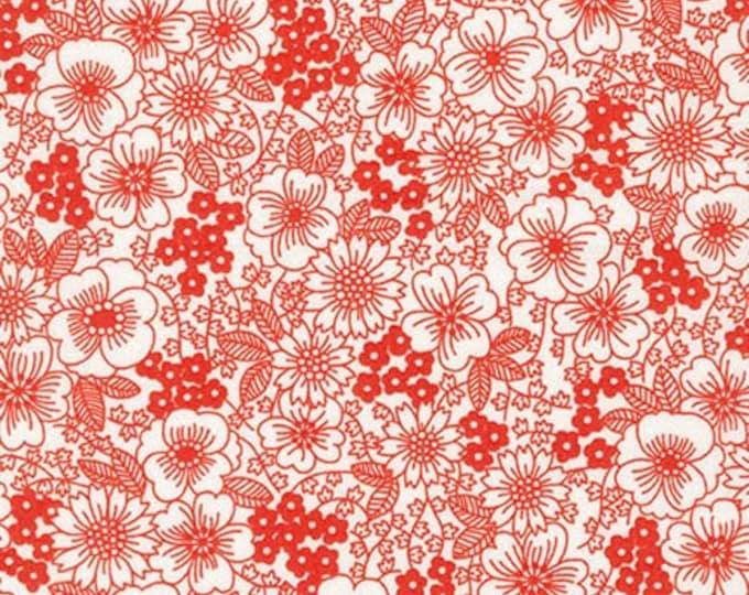 London Calling Lawn 6 - Flowers Red - 1/2 yard