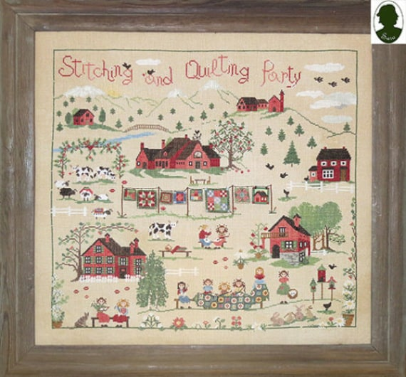 Stitching and Quilting Party - Sara Guermani - Cross Stitch Chart with Button
