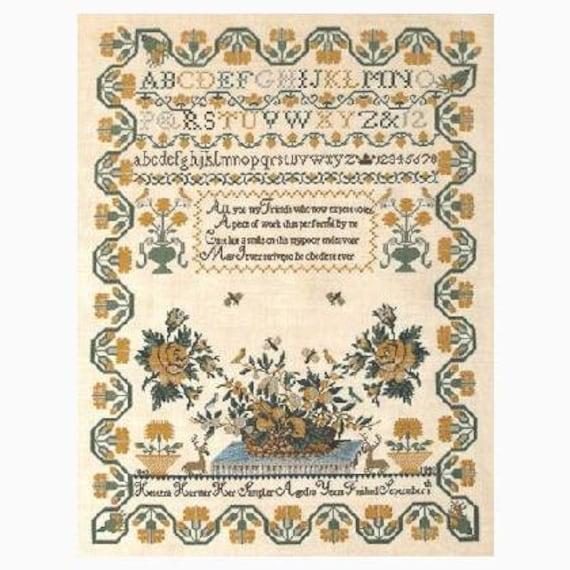 Hestera Harmer 1843 - Queenstown Sampler Designs - Cross Stitch Chart