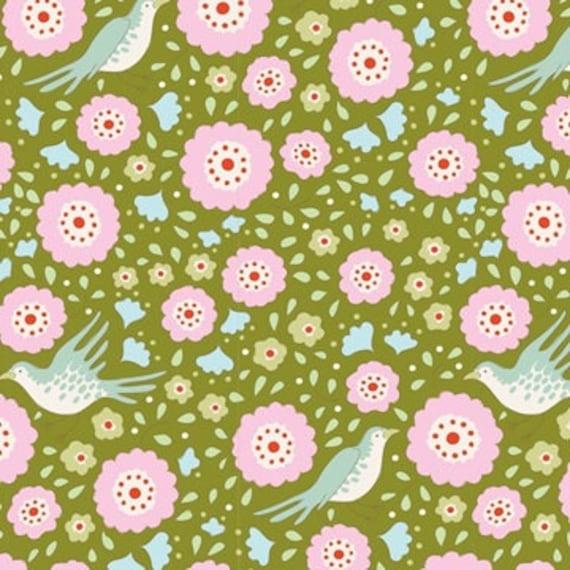 TILDA Bird Pond Lovebirds Green 100094