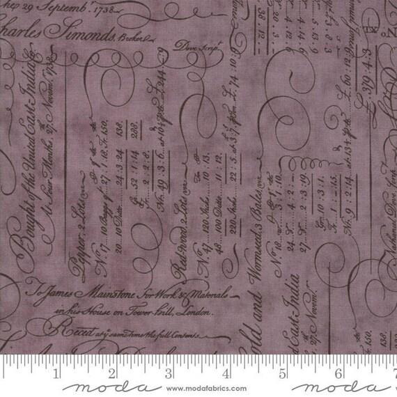 Quill - Script Ledger Mauve 44151217 - 1/2yd