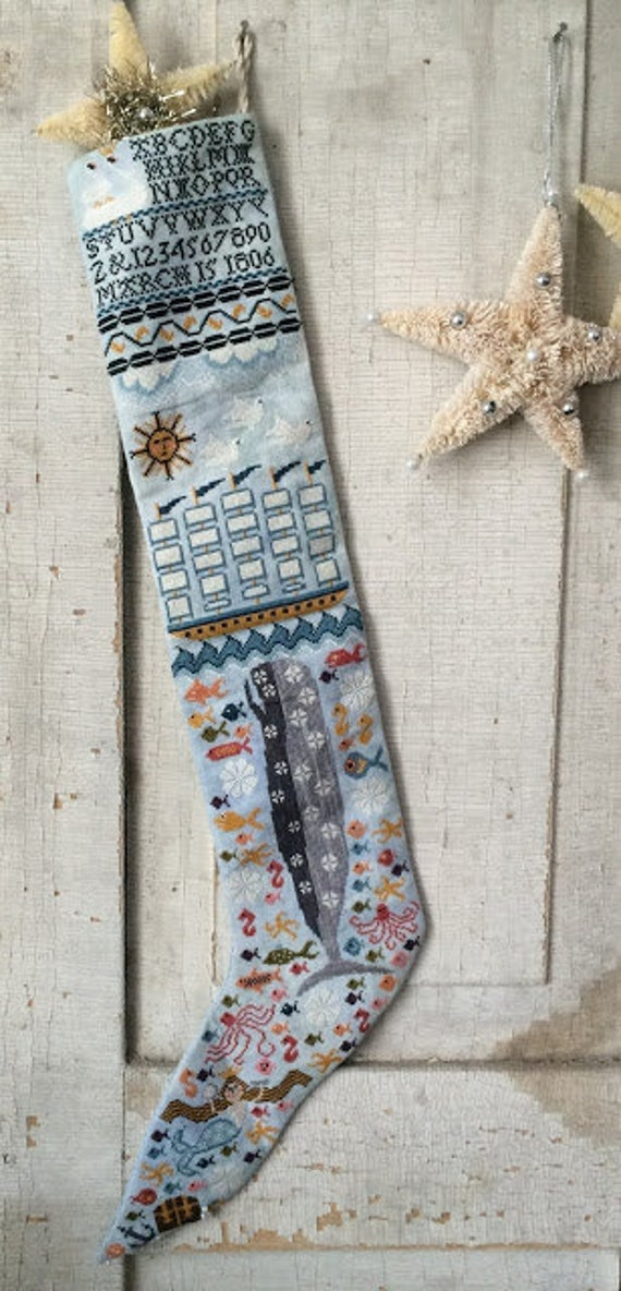 Ocean Blue Stocking by Kathy Barrick - Paper Chart