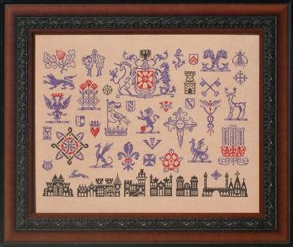 Much-Heralded Sampler - Ink Circles - Cross stitch chart