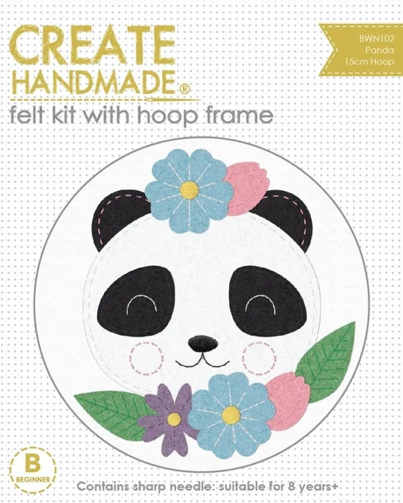 Felt Embroidery Kit with Hoop Frame - Panda