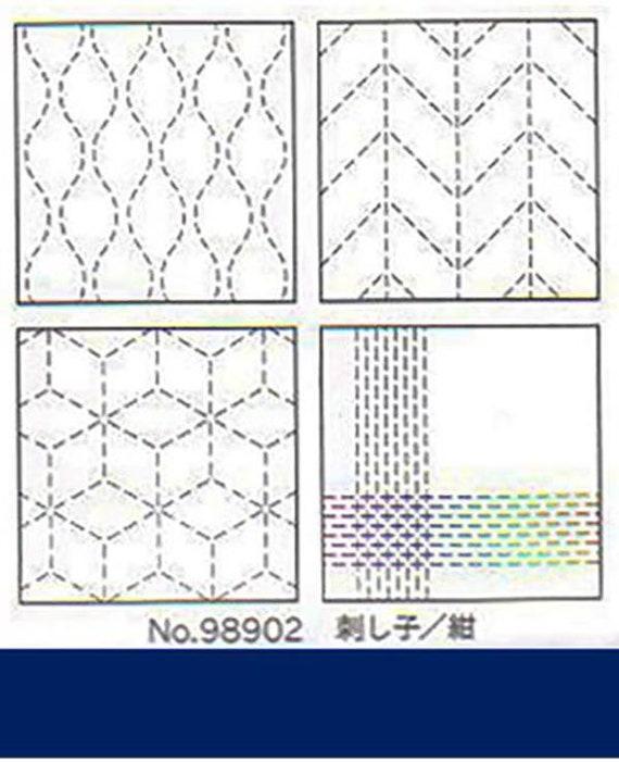 Set of 4 pre-Printed Sashiko Coasters - Navy 98902