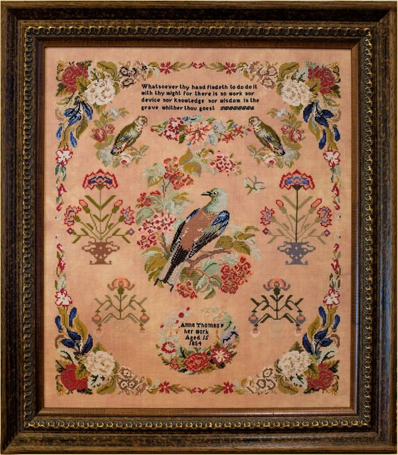 Anne Thomas 1854 - Hands Across the Sea Samplers - Cross stitch chart