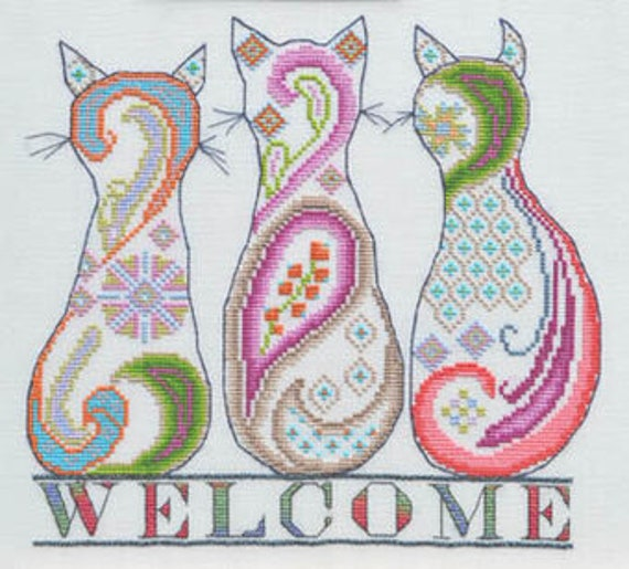 Paisley Cat Welcome - MarNic Designs - Cross stitch chart