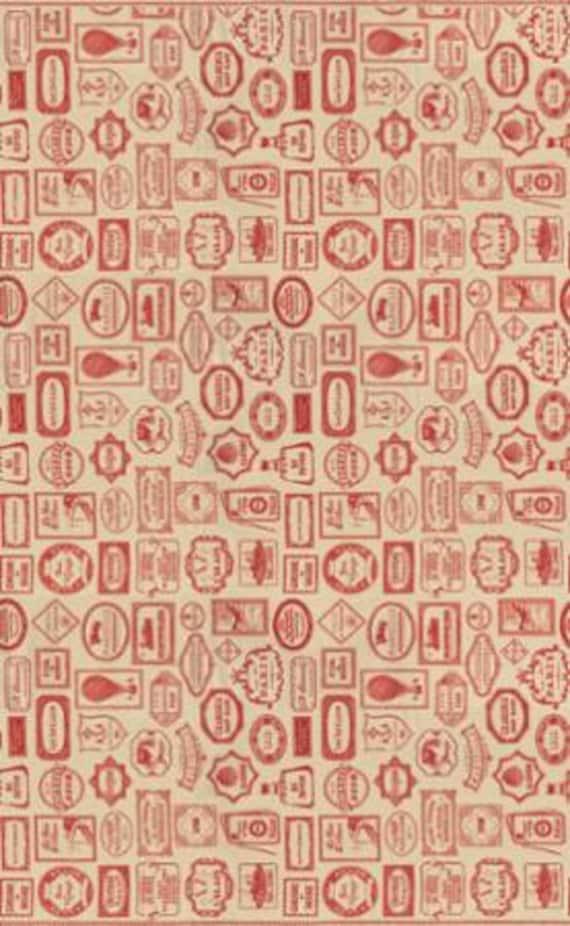 Bon Voyage - Labels Oyster Rouge 1/2yd