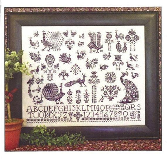 Peacocks and Posies - Rosewood Manor - Cross stitch chart