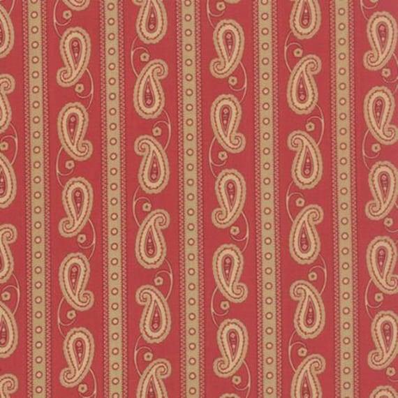 Polka Dots and Paisleys Paisley Stripe Red - 1/2yd