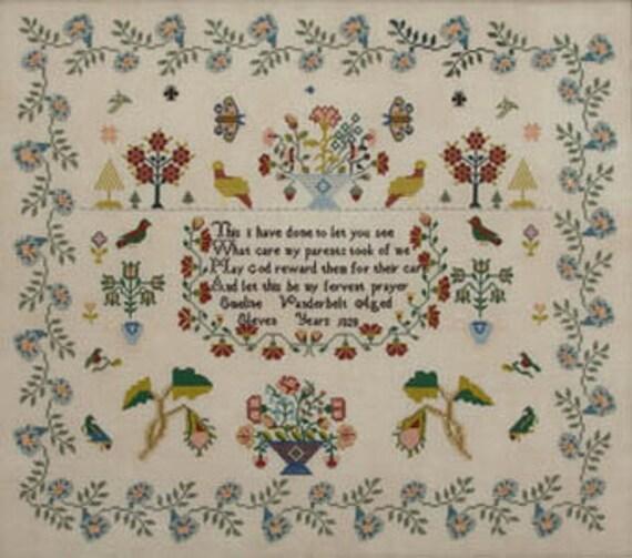 Emeline Vanderbelt 1828 - Queenstown Sampler Designs - Cross Stitch Chart