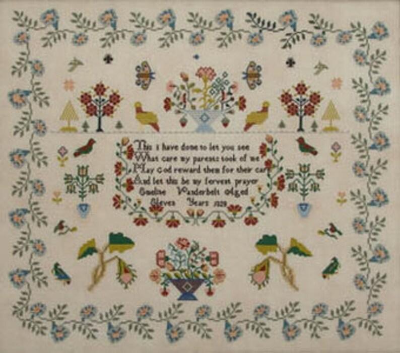 Cross Stitch Chart Emeline Vanderbelt 1828 Queenstown Sampler Designs