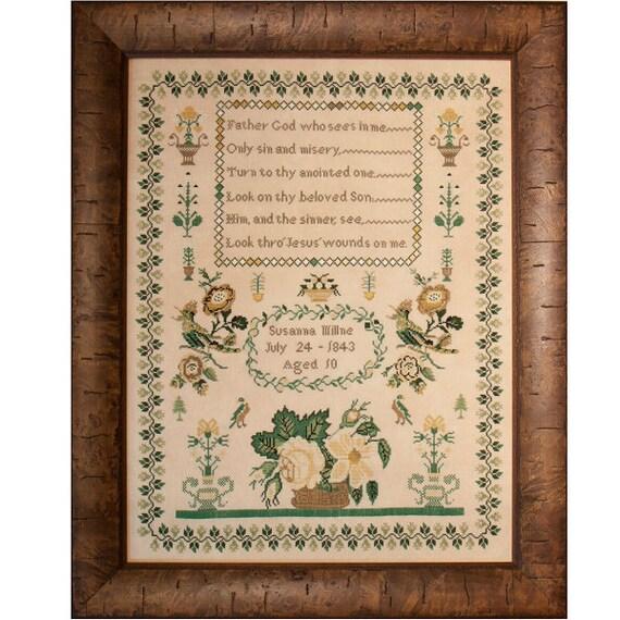 Susanna Millne 1843 - Hands Across the Sea Samplers - Paper Chart