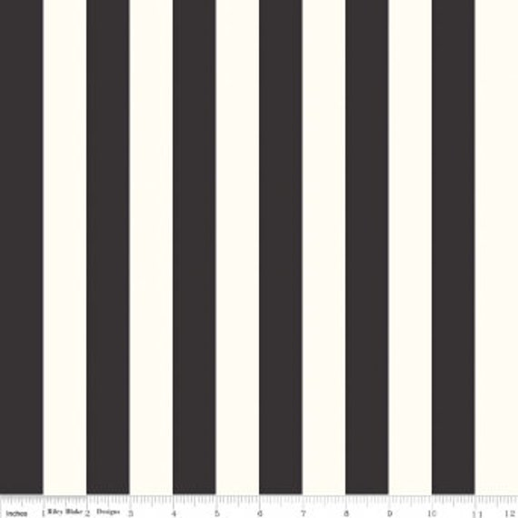 1 inch Stripe Black on Cream C650-110 - Riley Blake - 1/2yd