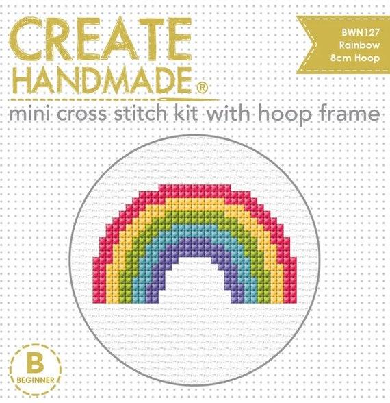 Cross Stitch Starter Kit with Hoop - Rainbow