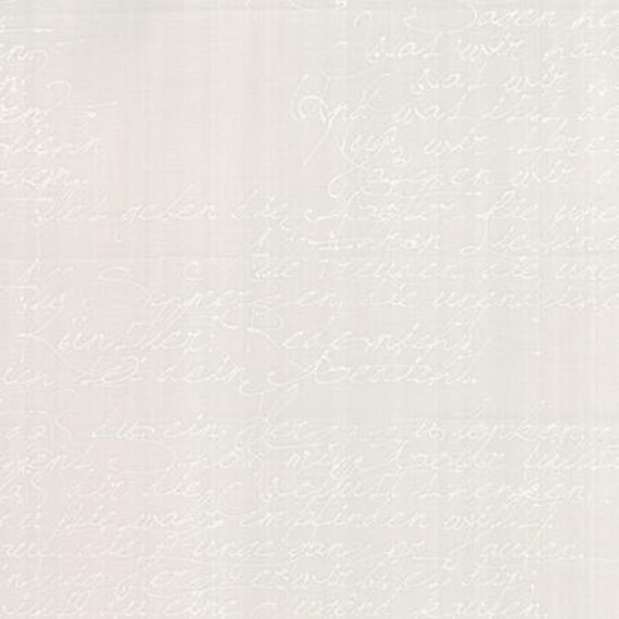 Modern BG Paper Handwriting White Fog - 1/2yd