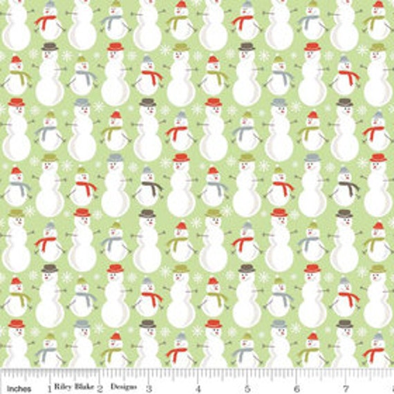 A Very Merry Christmas - Snowmen Soft Green - 1/2 yard