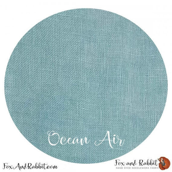 Ocean Air - Fox and Rabbit Designs - Hand-Dyed linen - 40 count