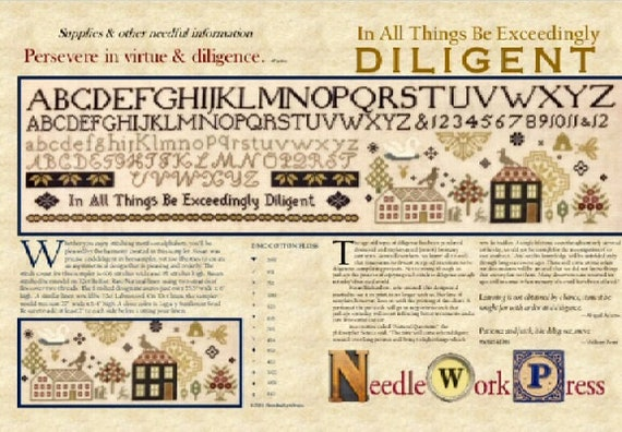 In All Things Be Exceedingly Diligent - NeedleWorkPress - Cross Stitch Chart