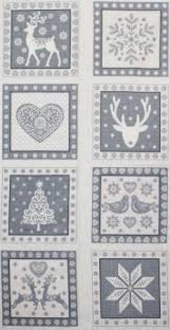 Scandi Christmas Squares Silver - Fabric Panel