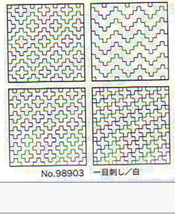 Set of 4 pre-Printed Sashiko Coasters - Pearl White 98903