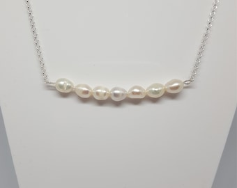 Pearl Necklace - White freshwater Pearl Bar Pendent  - 925 Sterling Silver - 1 mm / 19 inch rolo chain . Uk seller. June Birthstone.