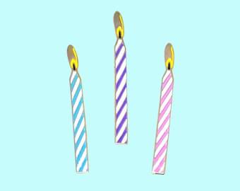 Birthday candle enamel pin / Birthday cake / Candy stripe / Bday / TWO PINS