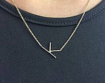 Sideways Initial Necklace in Sterling Silver or Gold Vermeil