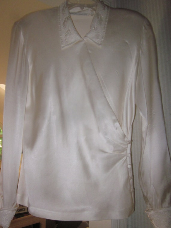Vintage long-sleeve beaded silk blouse by Paul Ale