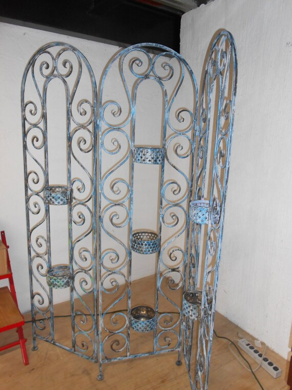 Fine wrought iron folding screen or Room divider hand made Etsy