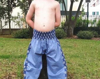 Aladdin boy's summer pants, beach pants, kid's harem pants, floral blue print, babies, boho, unisexe, ethnic pants, kids pants, Aummade