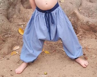 Boy's sarouel baggy , summer kid's harem pants,  sarouel blue chambray and jersey, boys, girls, babies, unisexe, boho, ethnic pants, Aummade