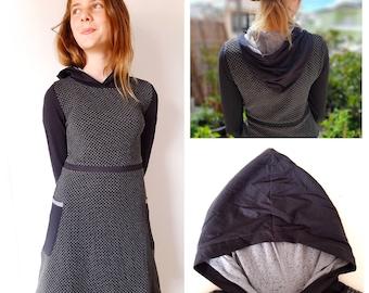Girls hooded dress, grey and black dot jersey, long sleeves, boho chic, pixie dress, fairy dress, Aummade