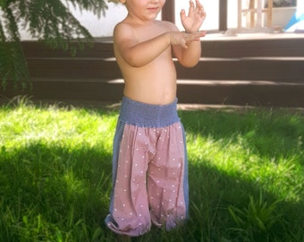 Aladdin girl's summer pants, girl's harem pants old pink print and turquoise, ethnic pants, boho for girls,  kids designer, Aummade