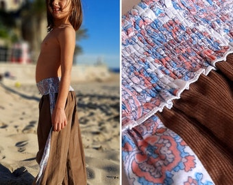 Aladdin girl's winter pants, girl's harem pants, Brown corduroy pants, ethnic pants, boho for girls,  kids designer, Aummade