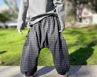 Boy's sarouel baggy , winter kid's harem pants, grey cotton checks, and jersey, boys, girls, babies, unisexe, boho, ethnic pants, Aummade