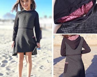 Girls Winter hooded dress, grey and black dot jersey, long sleeves, boho chic, pixie dress, fairy dress, Aummade