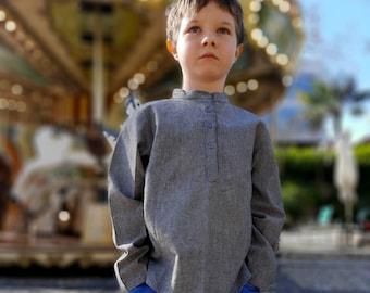 Winter boy's shirt, long sleeves, mandarin collar, china collar, Grey, cotton chambray, boho chic, indian style, ethnic, Aummade