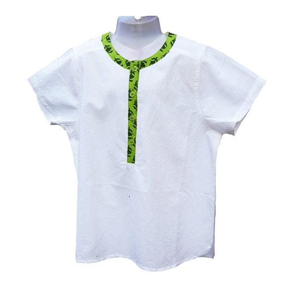 san francisco 83dec 96fca Weißes Hemd Kurzarm Shirt Boy, Kurta, gedruckte Kragen Stil grüner Anis,  für Babys und jungen, Kinder Designer, Aummade