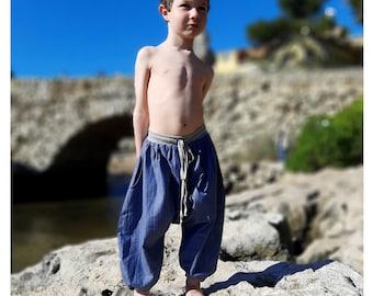 Boy's sarouel baggy , winter kid's harem pants, blue denim, chambray and jersey, boys, girls, babies, unisexe, boho, ethnic pants, Aummade