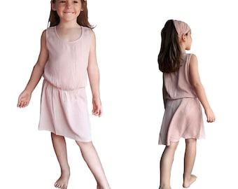 Summer girl's dress, plain pink crepe, retro, 60's, vintage, boho dress, simple and elegant, romantic dress, wedding, Aummade
