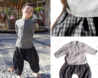 LOOK WINTER : grey cotton checks harem pants / long sleeves grey chambray shirt, boys set, ethnic style, indian style, ethnic pants, Aummade